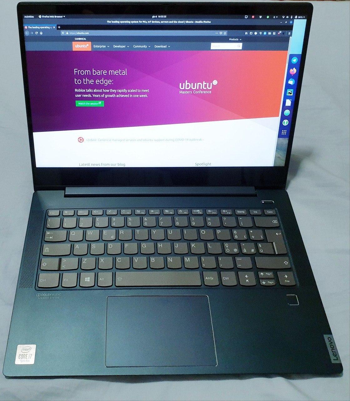 My Lenovo IdeaPad 540S running Ubuntu 20.04